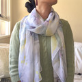 Watercolour blue abstract flowers pattern scarf