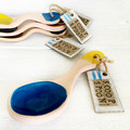 Ceramic Scoop Spoon, Blue and Yellow