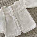 White Cardigan - Size 3-6 monthsHandknitted in a wool cotton blend