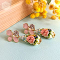 Pastel Light Pink Floral Stud with Roses Teardrop Tensha Beads Earring