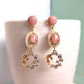 Rose Pearly Oval Tensha Beads with Olive Branch Cubic Zirconia Charm Earrings