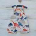 Harem knot romper for boys / dinosaur overalls/ summer rompers