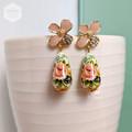 Pastel Light Pink Floral Stud with Roses Teardrop Tensha Beads Earring