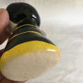 Handmade Ceramic Kokeshi Figurine - Bumblebee Black and Yellow Stripe Dress