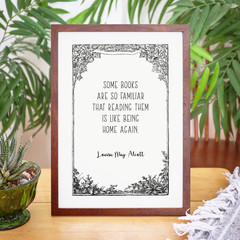 Louisa May Alcott Quote Vintage Border Print , Unframed Print