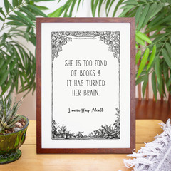 Louisa May Alcott Print with Vintage Tree Border, Unframed Print