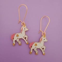 Gold enamel unicorn charm earrings