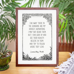 Louisa May Alcott Inspirational Wall Art Vintage Border Print, Unframed Print