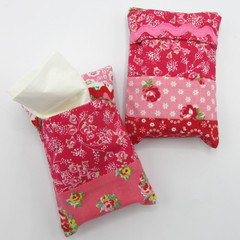 Pocket Tissue Holder / Travel Tissue Holder - Floral Patchwork