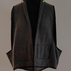 Herring bone Wool Vest ,  Autumn  Sale