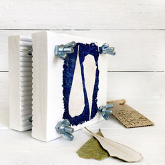 Mini Flower Press decorated with Banksia Cyanotype Art