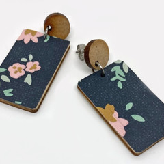 Floral/navy print earrings