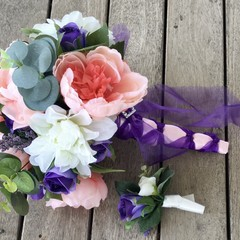 Salmon,Purple Peonie Faux Flower Wedding Bouquet