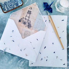 Lighthouse Cornflower Handmade Writing Set