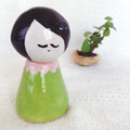 Handmade Ceramic Kokeshi Figurine - Green and Pink