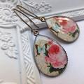 Vintage Rose & Butterfly Print Earrings