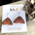 Magical Moth Collection - Red Moth 02,  20mm Silver Hoop Dangle