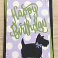 Birthday Handmade Card - scotty dog -  FREE POST