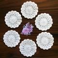 Six White Hand Crocheted Coasters