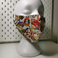 Triple layer facemask. Lucky Daruma Japanese pattern.