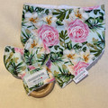 Absolutely beautiful Floral Rose print cotton dribble bib and beech wood teethin