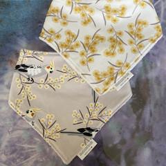 Australiana native print baby dribble bib, set of two beautifully soft cotton bi