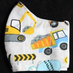 Trucks Kids Fabric Face Mask Size:3-6y/7-12yrs Ready Made