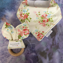 Gorgeous floral cotton dribble bib and beech wood teething ring set.