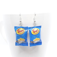 Thins Chips dangle Earrings, handmade polymer clay, mini food jewellery, Aussie