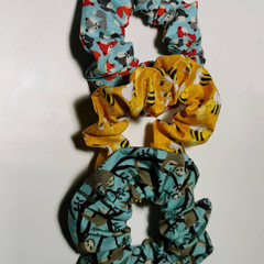 Pack of 3 cotton handmade scrunchies. Sloth, Bees and Foxes patterns.