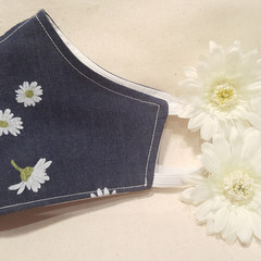 Super Soft Denim with pretty Daisy print Reusable and Washable Cotton Fabric FAC