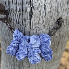 Indigo and white Scrunchie