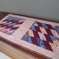 Zig-Zag Themed Handmade Quilted Coffee Table Topper
