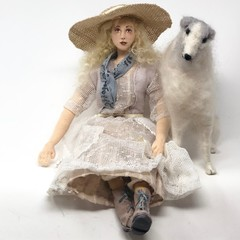 Cloth art doll, needlefelted Borzoi, Russian Wolfhound, OOAK, Country Girl