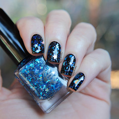 """Nail polish - """"Blue Moon"""" Bright blue metallic glitter with moons and stars"""