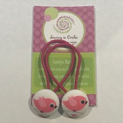 Pink birde hair ties