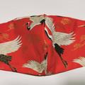 Washable facemask. Japanese cranes pattern.
