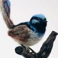 Needle felted Superb Fairy Wren, Australian animal, felt bird sculpture