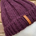 Purple plum eggplant merino ladies or mens knitted beanie wool blend pompom