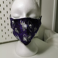 Washable facemask, skulls pattern. Halloween. Purple.