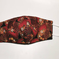 Triple layer cotton facemask. Japanese fans pattern.