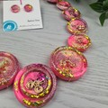 Pink Golden Sparkle Glitter  - Button Necklace - Button Earrings - Jewellery