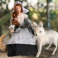Witch Moll Dyer, OOAK, cloth art doll, needle felted white wolf, Puritan dress