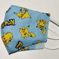 Triple layer cotton facemask. Pikachu pokemon pattern.