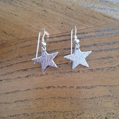 Recycled Silver Star Earrings