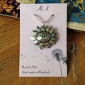 Recycled & Oxidised Silver Sunflower Pendant on a sterling silver chain
