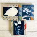 Set of 3 Handmade Notebooks with botanical and feather art