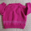 1-2 yrs: Hand knitted Cardigan, washable, girl