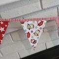 """Christmas Fabric Bunting Christmas Owls """"FREE POST"""""""