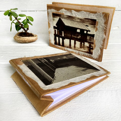 Pair of handmade notebooks with handmade paper and original salt print artworks